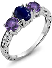 Gem Stone King 2.04 Ct Oval Blue Sapphire Purple Amethyst 925 Sterling Silver Ring