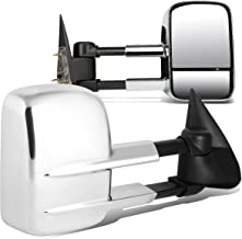 Chrome Pair Telescopic Extended Arm Rear View Manual Towing Side Mirror for Chevy Silverado GMC Sierra 99-06