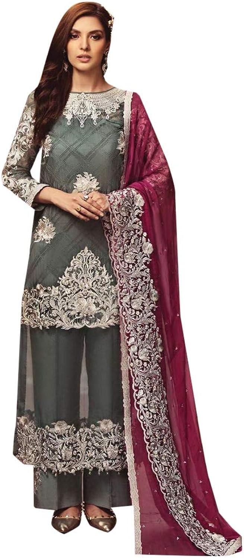 ETHNIC EMPORIUM Pakistani Pants Suit Designer Salwar Kameez Net Ready to Wear Indian Muslim Lawn Christmas 7423
