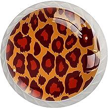 Lade handgrepen trekken ronde kristallen glazen kast knoppen keuken kast handvat,Klassiek luipaard print patroon