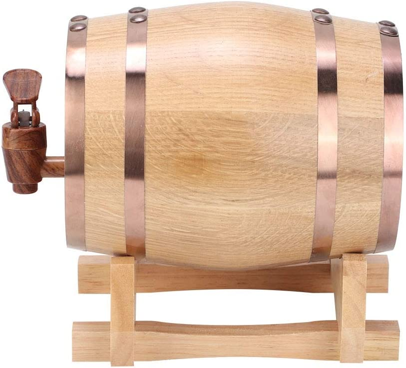 1L baril de vin en bois bar /à la maison brassage du vin baril de bi/ère mini baril de vin ch/êne baril Baril de vin m/énager Couleur du bois avec cerceau noir 1L