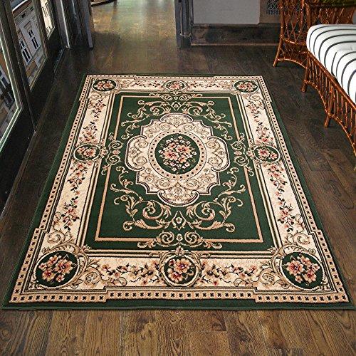 Carpeto Klassisch Orientteppich & Perserteppich mit Orientalisch Ornamente Muster Kurzflor in Grün/TOP Preis - ÖKO TEX (140 x 200 cm)