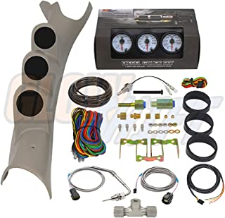 GlowShift Diesel Gauge Package for 2003-2009 Dodge Ram Cummins 2500 3500 - White 7 Color 60 PSI Boost, 2400 F Pyrometer EGT & Transmission Temp Gauges - Factory Color Matched Triple Pillar Pod