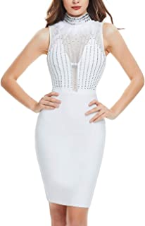 FYLCOOL Party Sexy Women Bling Rhinestone Sheer Deep V High Neck Midi Dress