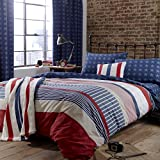 Catherine Lansfield Stars & Stripes - Funda nórdica y funda de almohada cama, 220 x 180 cm, color...