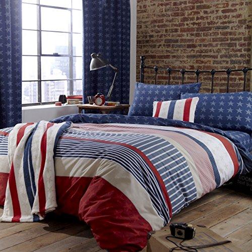 Catherine Lansfield Stars & Stripes - Funda nórdica y funda de almohada cama, 220 x 180 cm, color azul