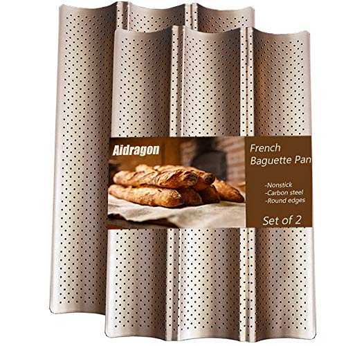 Aidragon 2 Pack Baguette Pan for Baking, 15'x10' Nonstick French Bread Mold Loaf Bake Toast Perforated Cooking Bakers Molding Gold 3 Wave