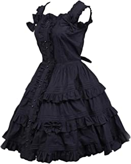 Black Gothic Lolita Dress Women's Dress Cosplay Punk Lolita Dress Satin Sleeveless Knee Length Princess Dress YJXUSHYQ (Co...