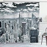 Cortina de Ducha New York, NYC Over Manhattan Desde la Cima de los Rascacielos Urban Global Culture Artful City Panorama, Juego de decoración de Tela para baño con Ganchos, extralargo, Gris