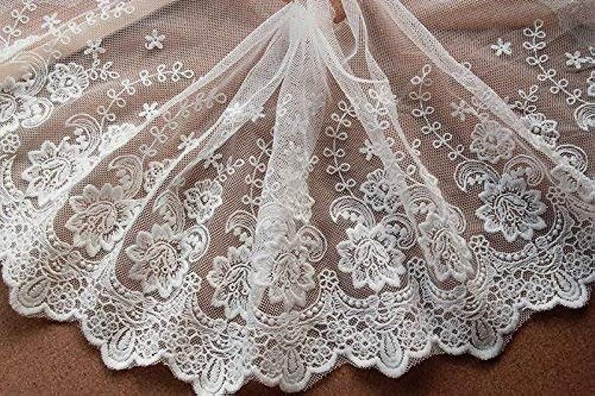 5yards Vintage Embroidered Lace Edge Trim Ribbon Wedding Applique DIY Sewing Craft,19CM Widths (J-5yards, Beige)