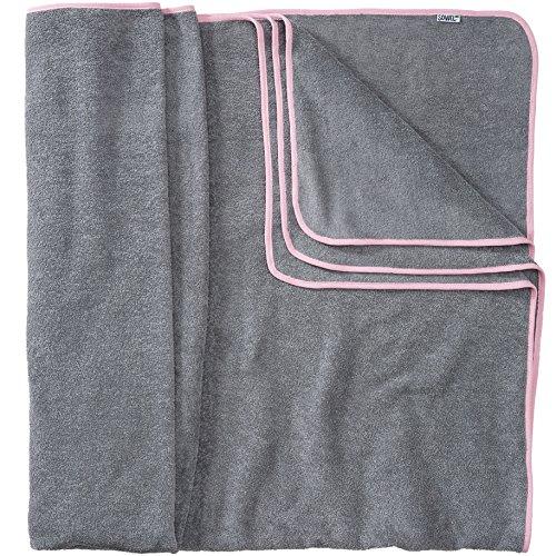 Sowel® Badetuch Groß, 200 x 160 cm, 100% Bio-Baumwolle, Strandtuch XXL, Flauschig, Grau/Pink