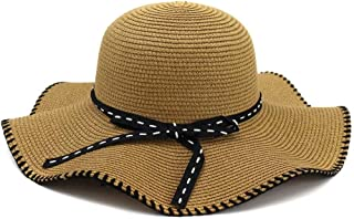 Summer hat Hat Lady Sun Hat Visor Outside Beach Sunscreen Beach Hat Frilled Fashion Beaded String Woven Rope Straw Hat hat (Color : Coffee, Size : 56-58CM)