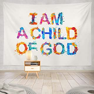 Darkchocl I Child God Prayer Tapestry, Decorative Tapestry I Child God Prayer Letter Banner Card Colorful Culture for Living Room Wall Hanging Tapestry 60 L x 80 W I Child God Prayer