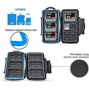 JJC Memory Card Case 36 emplacements de transport résistant à l'eau antichoc support de stockage Compact Flash CF et SD SDHC SDXC Micro SD TF Cartes Coque de protection