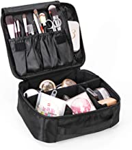 Lmeison Makeup Train Case, Travel Makeup Bag with Adjustable Dividers, 9.6'' Portable Cosmetic Storage Bag for Makeup Brush Set, Jewelry, Toiletry and Digital Accessories