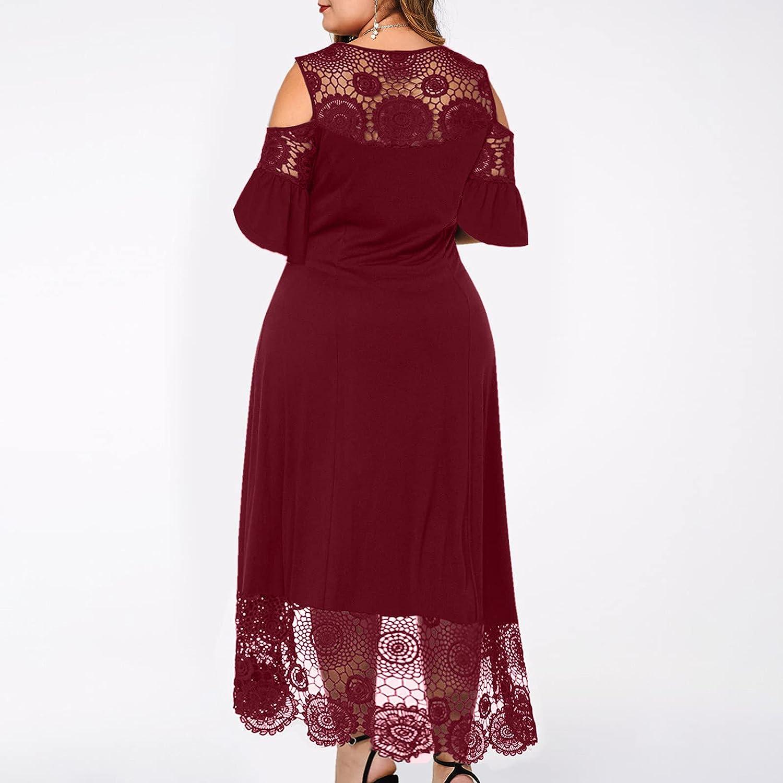 Plus Size Women Maxi Dress Sexy Ruffle Strapless Splicing Lace Splicing Short Sleeve Dress Elegant Swing Dress