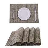 SUNSHINE FASHION Placemats,Placemats for Dining Table,Heat-Resistant Placemats, Stain Resistant Washable PVC Table Mats,Kitchen Table mats (4, Beige)
