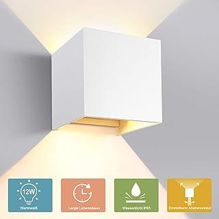 12X LED Moderne Würfel Wandlampe 12W Warmes Weißes Licht Wandleuchte Wasserdicht