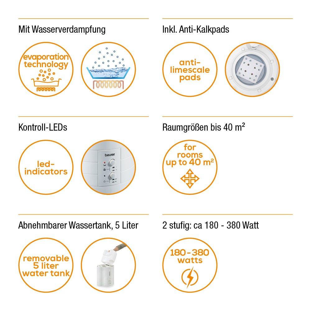 Humidificador de aire desp/ótico 5 l Beurer LB 50 color blanco alcance 50 m/²