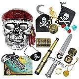 THE TWIDDLERS 15 Juguetes temáticos de Piratas - Accesorios de Disfraz con Espada, Parche de Ojo, Gancho Fiestas Infantil, Cumpleaños, Halloween, Navidad, para niños y niñas.