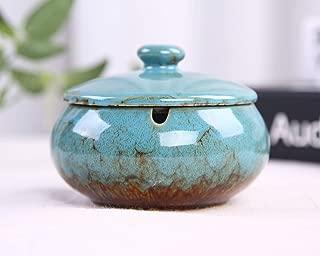VanEnjoy Transmutation Glaze Ceramic Ashtray with Lids, Windproof, Cigarette Ashtray Ash Holder for Home Office Decoration