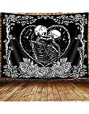 Trippy Skull Tapestry, Tarot Card Black and White Skeleton Lover Tapestry Wall Hanging for Bedroom, Flower Aesthetic Goth Home Decor Tapestry Beach Blanket College Dorm
