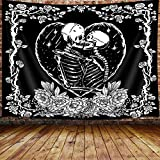 Trippy Skull Small Tapestry, Tarot Card Black and White Skeleton Lover Tapestry Wall Hanging for Bedroom, Flower Aesthetic Goth Home Decor Tapestry Beach Blanket College Dorm (60'W X 40'H)