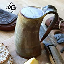 Anglo Goods Handcrafted Ale Horn (20oz) Viking Drinking Horn Mug.Drink Mead & Beer Like A Real Viking. (Multi-color) (Dragon Carved)