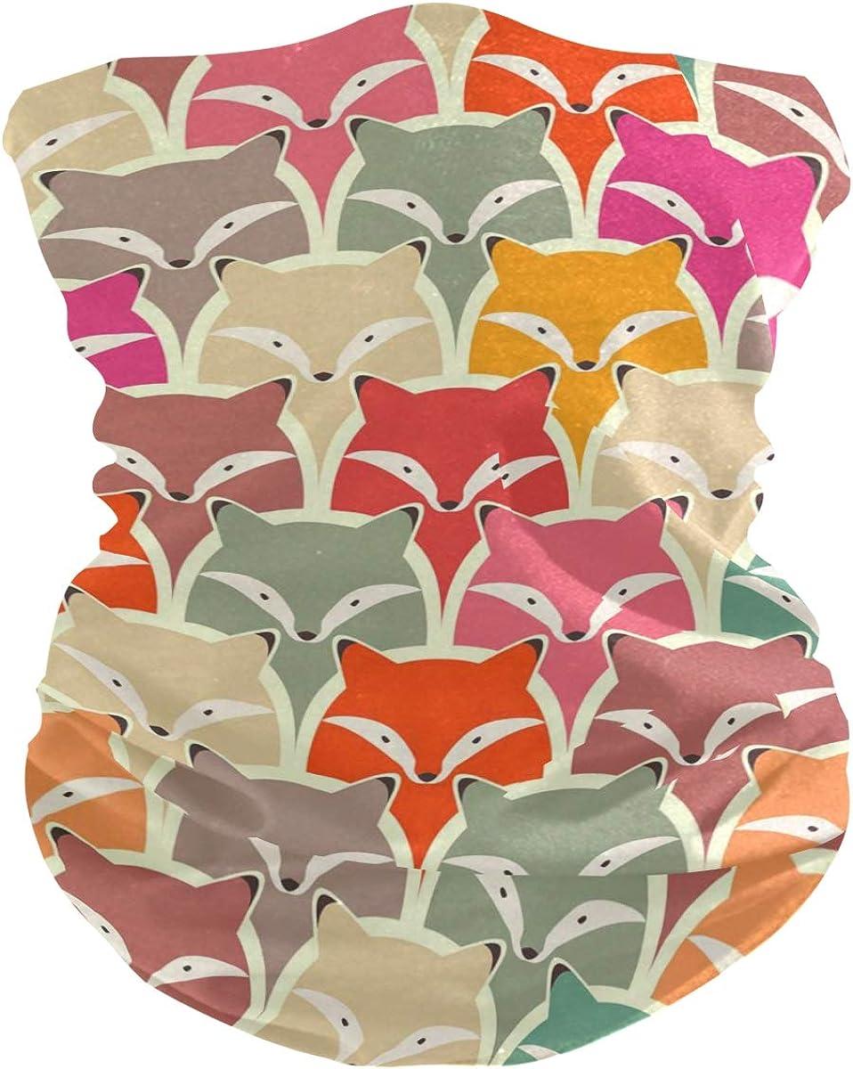 Face Mask Bandana for Women Men, Fox Pattern Neck Gaiter Balaclava Face Cover Sun Dust Mask Magic Scarf Headwear