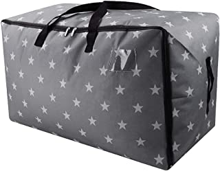 iwill CREATE PRO Extra Large Halloween Ornament Storage Bag, Xmas Storage Containers, Large Traveling Storage Duffle Bags, Gray Stars