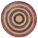 Tapis rond en toile de jute et coton tressé pour arts indiens, Coton, multicolore, 90cm Multicolour