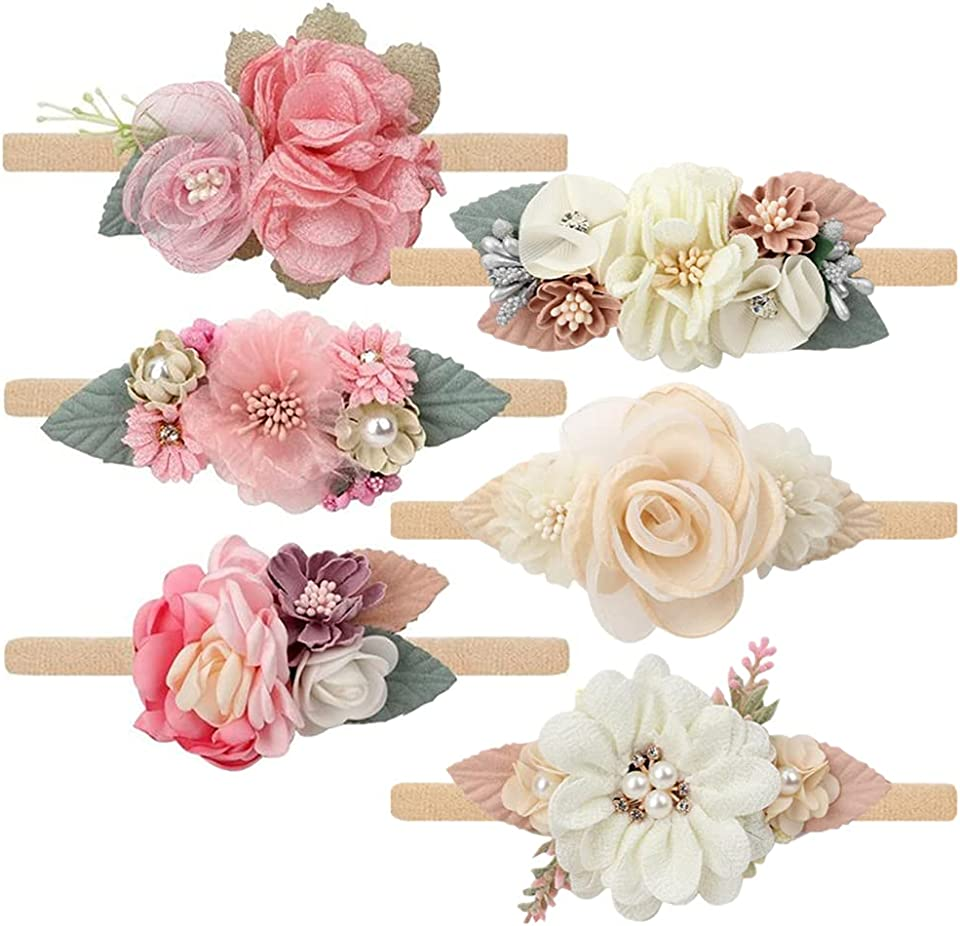 Baby Floral with Nylon Headbands for Newborn Girls Shower Photo 6-Pack