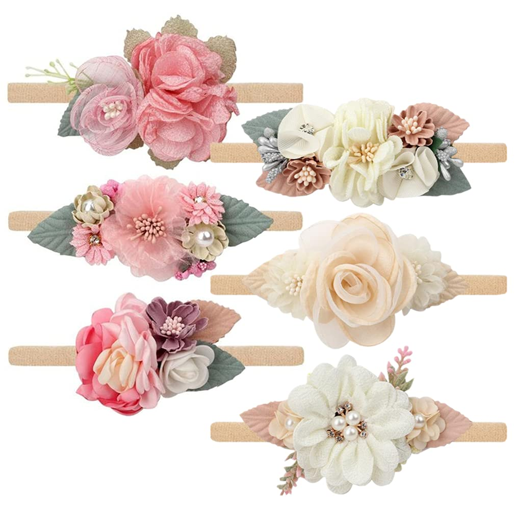 Toptim Baby Floral with Nylon Now Ranking TOP15 on sale Girls Headbands Newborn Shower for