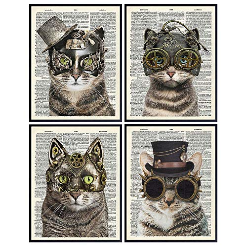 Cats in Steampunk Accessories - Gothic Steampunk Cats - Goth Wall Art Decor - Kitty, Kitten, Cat Themed Gifts for Renaissance Victorian Fans -Home Decoration for Bedroom, Living Room - 8x10 Posters