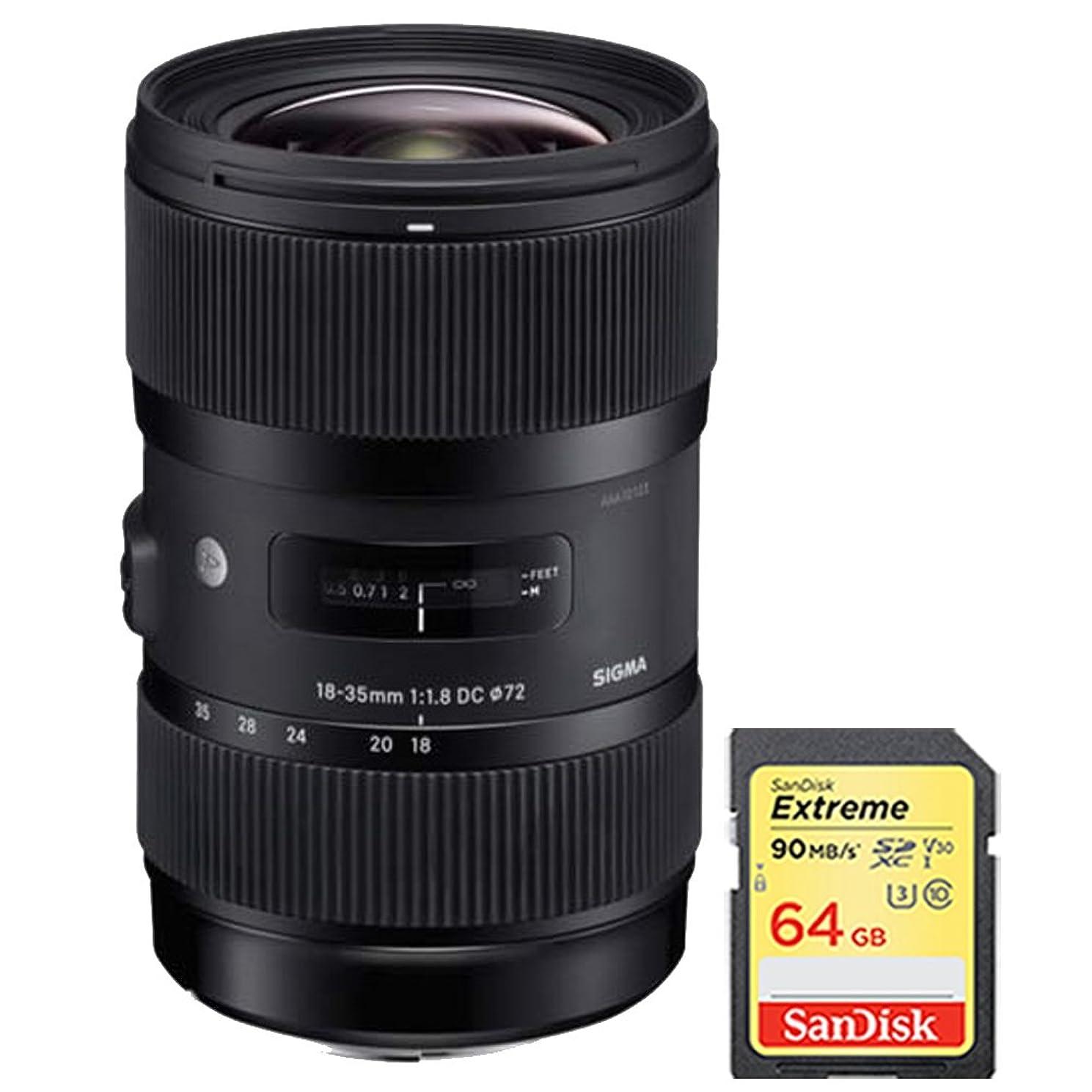 Sigma AF 18-35mm f/1.8 DC HSM Lens for Nikon includes Bonus Sandisk 64GB Memory Card