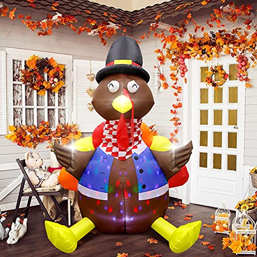 OurWarm 6ft Thanksgiving Inflatable Turkey Outdoor Decoration, Blow up Turkey Inflatable with Rotating LED Lights for Outside Thanksgiving Yard Lawn Garden Home Decor