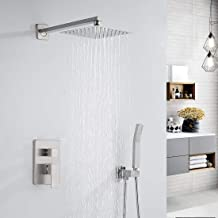 Morotel Shower System Brushed Nickel Bathroom Luxury Rain Mixer Shower Faucet Set Wall Mounted Rainfall Shower Combo Set w...