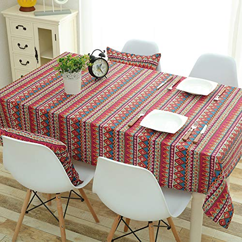 DJUX Table Cloth Ethnic Style Cotton and Linen Table Cloth Two-Color Table Cloth Household Tea Table Cloth Bedside Table Cover Fabric 130x180cm