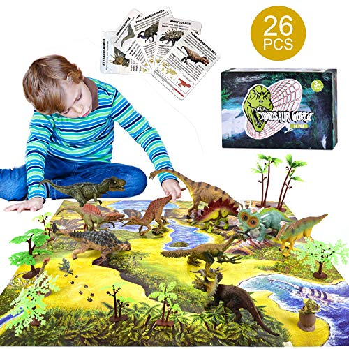 AstarX 26 Pieces Dinosaur Toys, Movable Jaws PlayMat\&Trees for Kids Educational Realistic Dinosaur Playset to Creat a Dino World