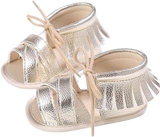 DZT1968 Newborn Girls Boys Springlace-Up Anti-Slip Fringe Sneakers Tassel Sandals