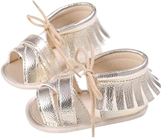 DZT1968 Newborn Girls Boys Springlace-Up Anti-Slip Fringe Sneakers Tassel Sandals
