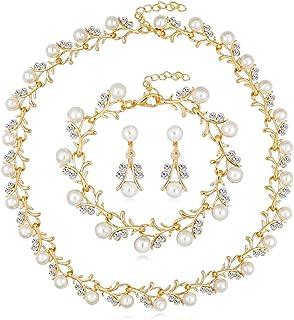 Flyme Fashion Necklace Earrings Bracelet Pearl Diamond Crystal Elegant Women Jewellery Set of Crystal Pendant Necklace+Earrings+Bracelet(Gold)