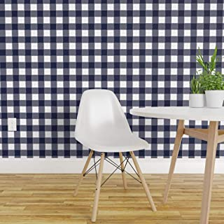 Spoonflower Pre-Pasted Removable Wallpaper, Navy Blue Gingham Plaid Buffalo Check Watercolor Modern Woodland Print, Water-Activated Wallpaper, 24in x 144in Roll