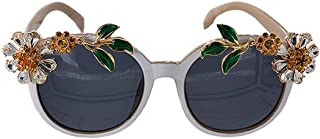LUKEEXIN Sunflower Crystal Baroque Sunglasses for Women Exquisite Handmade Frame Eyewear Fashion Show Style Sunglasses (Color : Grey)