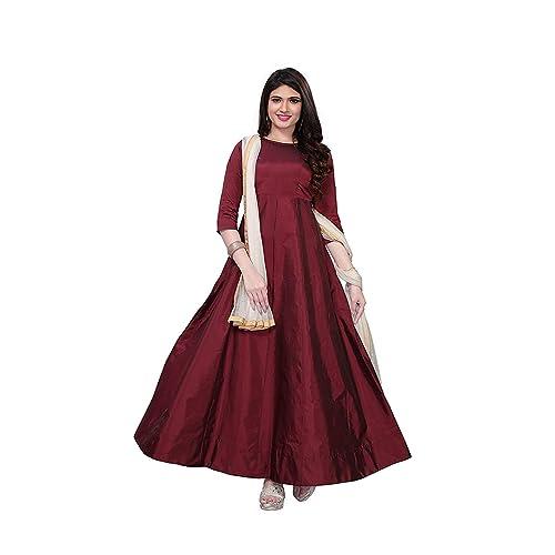 5d5ab9befeb Fragrance Trendz Women s Tapeta Silk Anarkali Fancy Gown. (204 Free Size)
