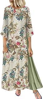 Abito Vestito Gonna Jumpsuit Abito lungo allungato con scollo a V manica manica 3/4 con stampa floreale vintage donna esti...