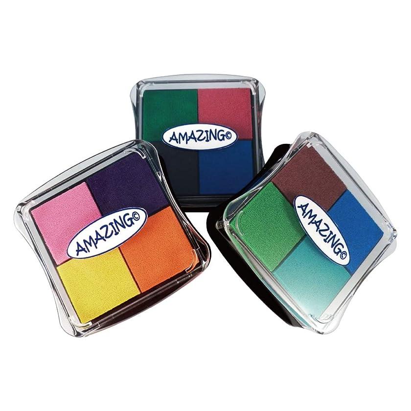 Best Stamp Non-Toxic Fingerprint Craft Stamp Pad Ink Partner DIY Color, 12 Colors Ink Pad for Stamps, Paper, Wood Fabric, Kid's Rubber Stamp Scrapbooking Card Making (3 Pack)