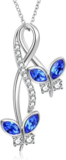 AOBOCO 925 Sterling Silver Butterfly Necklace Infinity Pendant with Blue Swarovski Crystals, Jewelry Gifts for Women
