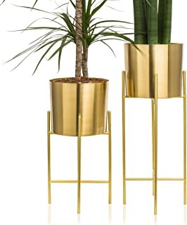 Kimisty Set 2 Modern Mid Century Brass Gold Planters with Stand, 7 Inch Large Planter Pots with Metal Stands, Flower Pot Living Room Decor for Orchid, Aloe, Large Cactus Plants, 16 and 20 Inch Tall