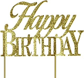 All About Details CATHBDYALGOL Gold Happy-Birthday Cake Topper, 6 x 8